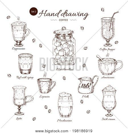 Coffee hand drawn monochrome set with cappuccino latte mocha and frappe marshmallow roasted beans isolated vector illustration
