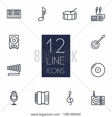 Collection Of Station, Percussion, Amplifier And Other Elements.  Set Of 12 Song Outline Icons Set.