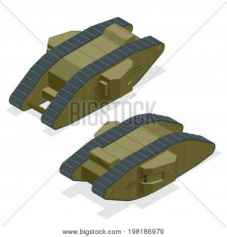Mark I British heavy tank during the First World War The founder of the family of British diamond-shaped tanks Isometric vector war transport Armoured fighting vehicle designed for front-line combat.