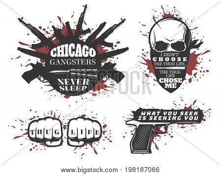 Set with four isolated illustrations bloody with skulls fists and mafia weapons on blank background flat vector illustration