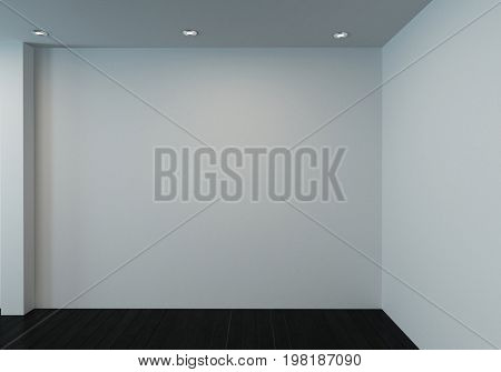 Unfurnished room with blank white walls and wooden floor. 3d Rendering.
