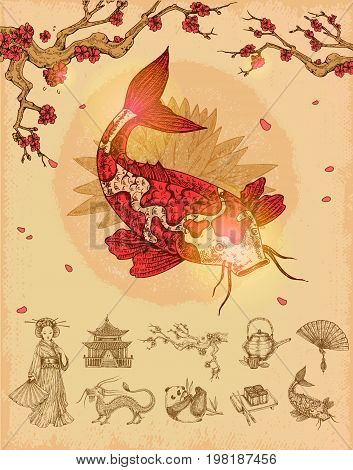 Asian culture concept with red fish and sakura composition and set of monochrome icons isolated vector illustration