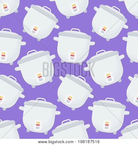 Rice cooker vector seamless pattern Flat design of kitchen utensil or cooking equipment wallpaper isolated on the purple background cute vector illustration with reflections
