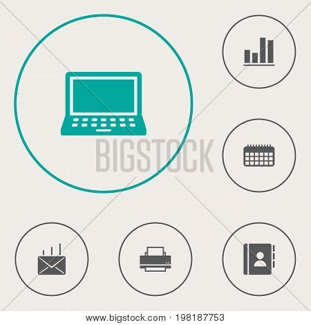 Collection Of Diagram, Calendar, Printer And Other Elements.  Set Of 6 Bureau Icons Set.