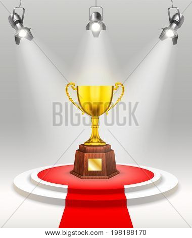 Light awards ceremony template with realistic gold cup on stage projectors and red carpet vector illustration