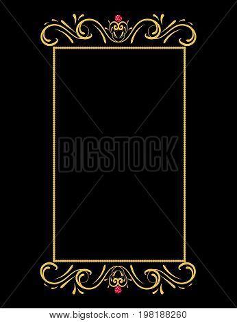 Vintage gold vector frame  luxury, curl, vignette, greeting
