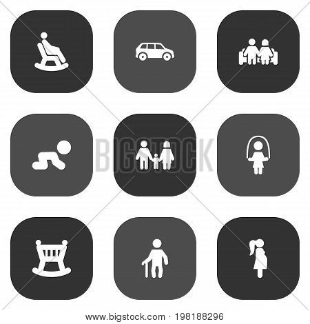Collection Of Married, Expectant Mother, Creep Baby And Other Elements.  Set Of 9 Relatives Icons Set.