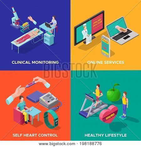Isometric heart care concept with medical control diagnostic procedures devices gadgets sport healthy lifestyle and proper nutrition vector illustration