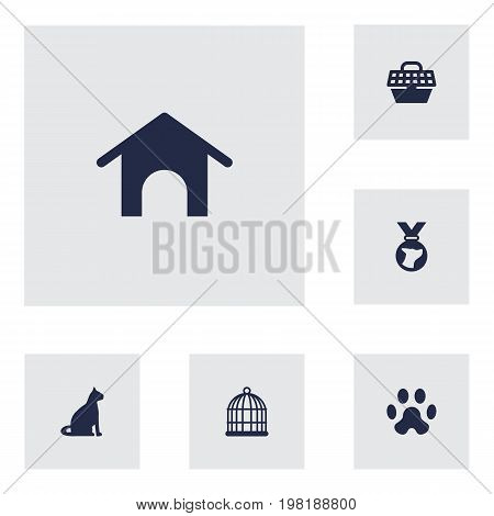 Collection Of Home, Medallion, Birdcage And Other Elements.  Set Of 6 Pets Icons Set.