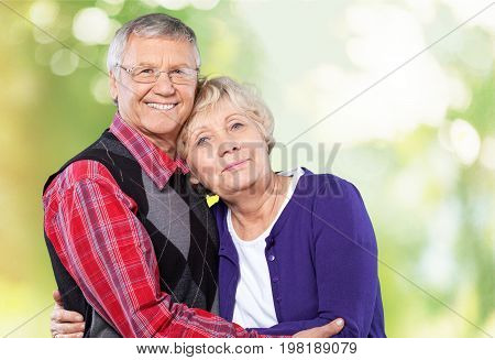 Park couple elderly two people senior adult heterosexual couple years