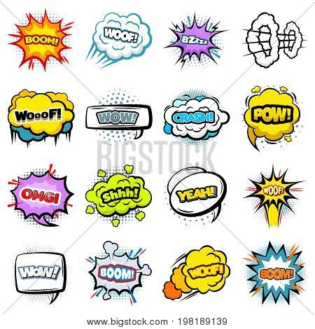 Comic colorful speech bubbles collection of different shapes with words expressions sound halftone and explosion effects isolated vector illustration