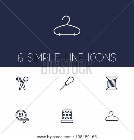 Collection Of Tremble, Awl, Hanger And Other Elements.  Set Of 6 Tailor Outline Icons Set.