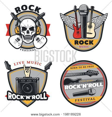Vintage colored rock music emblems set with crossed guitars skull headphones wings microphones amplifier isolated vector illustration