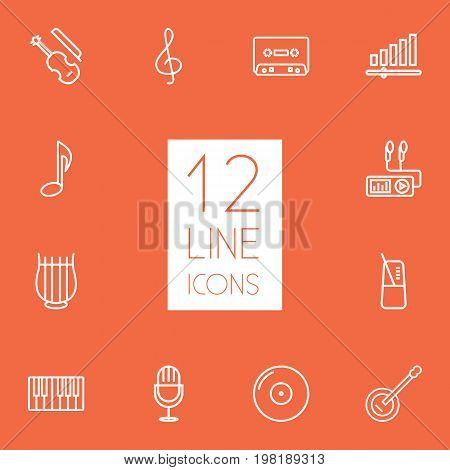 Collection Of Audio Level, Turntable, Fortepiano And Other Elements.  Set Of 12 Melody Outline Icons Set.