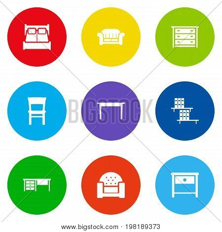 Collection Of Couch, Bookcase, Stool And Other Elements.  Set Of 9 Decor Icons Set.