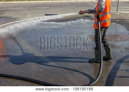 Street Sprayed Clean With Pressurized Water 2