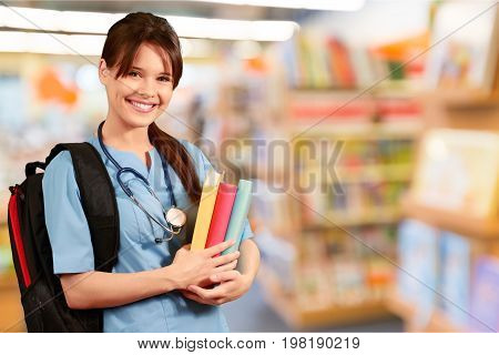 Female young medical attractive student young adult color