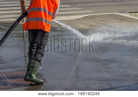 Street Sprayed Clean With Pressurized Water 3