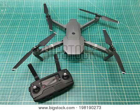 LONDON - AUGUST 2, 2017: DJI Mavic Pro gimbal stabilised 4K video and photo camera drone and remote controller.