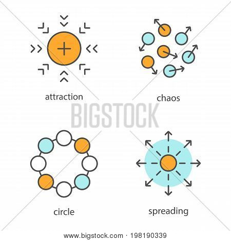 Abstract symbols color icons set. Attraction, chaos, circle, spreading concepts. Isolated vector illustrations