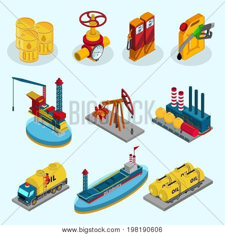 Isometric oil industry elements collection with barrels pipeline fuel station canister factory drilling rig truck ship tankers isolated vector illustration
