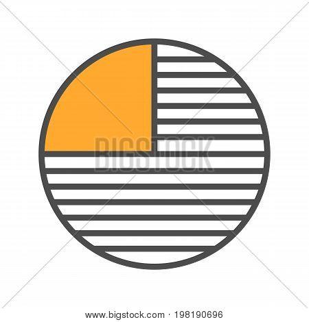 Circle diagram with missing part color icon. Portion abstract metaphor. Isolated vector illustration