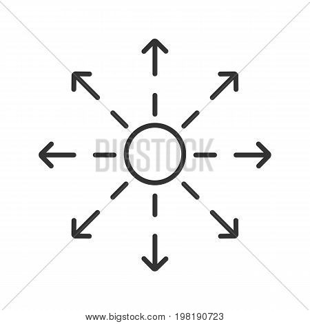 Spreading linear icon. Thin line illustration. Distribution abstract metaphor contour symbol. Vector isolated outline drawing