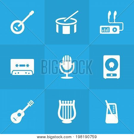 Collection Of Amplifier, Rhythm Motion, Acoustic And Other Elements.  Set Of 9 Melody Icons Set.