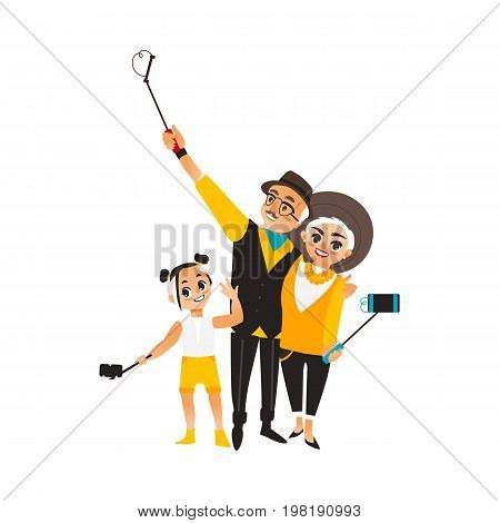 Vector adult couple and girl makes selfie. Isolated illustration on a white background. Man woman and kid, child in fashion clothing makes photo by selfie stick on vacation