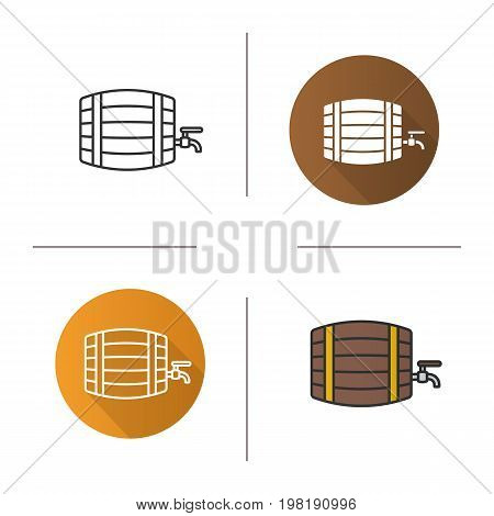 Alcohol wooden barrel icon. Flat design, linear and color styles. Bar and pub sign. Whiskey, beer or rum barrel with tap. Isolated vector illustrations