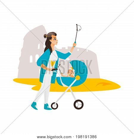 Vector woman with baby in stroller make selfie on the background of Coliseun. Flat cartoon Isolated illustration on a white background. Female adult baby infant makes photo by selfie stick on vacation