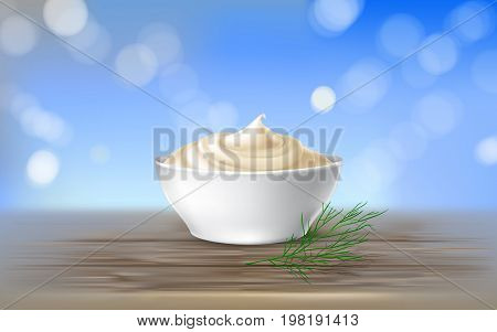 Vector illustration. poster with mayonnaise, sour cream, sauce, sweet cream, yogurt, swirling in a white bowl on a wooden table, in realistic style. Template, design element