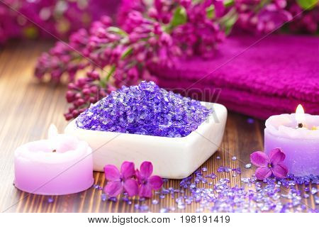Spa Setting With Candles, Sea Salt And Lilac