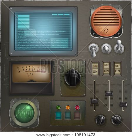 Stylized retro control panel. A set of different sensors, buttons, sliders and switches. Analog Devices elements. vector illustration