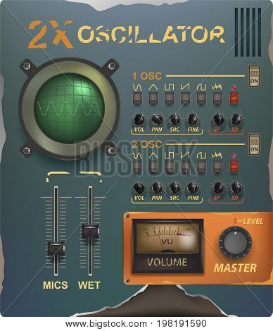 Retro music interface and elements. Virtual graphic. Analogue user interface. Mixer. Equalizer. Drum pad. Synthesizer. Vector Illustration. Interface plug-in music