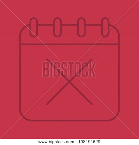 Calendar page with cross color linear icon. Delete and cancel sign inside notebook. Thin line outline symbols on color background. Vector illustration