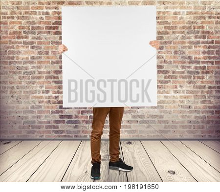 White holding board man big man face color