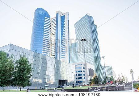 High-rise glass building in the city of Astana