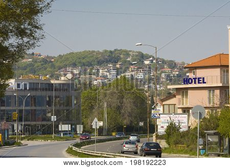 SAINTS CONSTANTINE AND HELENA, BULGARIA - APRIL 27, 2015: Saints Constantine and Helena, the oldest first sea resort of Bulgaria, exists from 19 century.