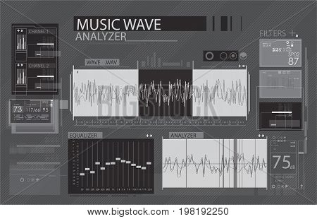 Audio wave app in HUD style. The work with sound tuning the sound of spyware