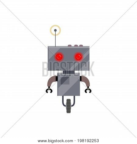 Robot evolution, retro android with wheel and antenna, cartoon vector illustration isolated on white background. Simple retro, vintage metal robot with wheel and antenna, cartoon style illustration