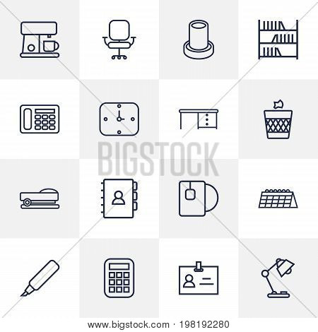 Collection Of Marker, Badge Id, Calendar And Other Elements.  Set Of 16 Bureau Outline Icons Set.