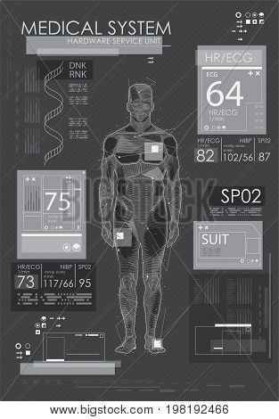 HUD UI for app. Abstract virtual graphic touch user interface. UI hud infographic interface screen monitor radar set web element