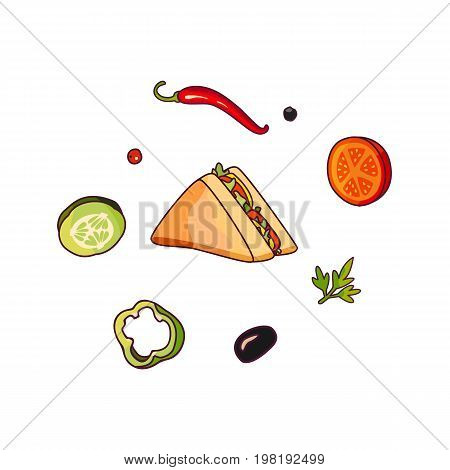 Vector flying ingredients, sandwich set flat isolated illustration on a white background. Vegetables for pizza, sandwich roll shawarma fastfood preparation. Chilli tomato pepper olive cucumber cartoon