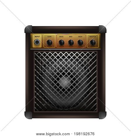 Guitar combo amplifier. Audio and sound device for rock music. Booster for musicians. vector illustration. Isolated white background
