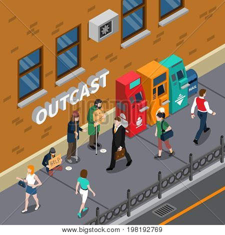 Beggars at street design with persons with placards needy in help near atm machines isometric vector illustration