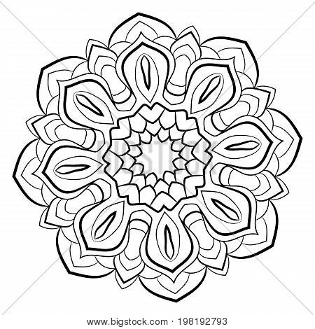 Contour mandala for color book. Monochrome image. Symmetrical pattern. Illustration for scrapbook. Picture for meditation and relaxation. Beautiful graphics for the album. Persian motives.