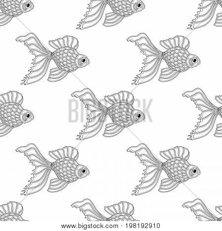 Vector seamless pattern of line art goldfish. Endless background of fish