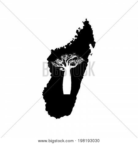 Vector silhouette of black Madagascar with white baobab silhouette inside.