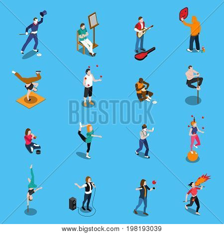 Street artists isometric set with musicians, painter, acrobats, graffiti, dancer, pantomime on blue background isolated vector illustration
